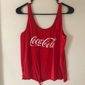 Coca Cola Graphic Red Tie Front Tank